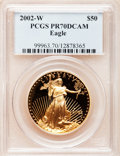 Modern Bullion Coins, 2002-W G$50 One-Ounce Gold Eagle PR70 Deep Cameo PCGS. PCGSPopulation (139). NGC Census: (573). Numismedia Wsl. Price fo...