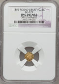 California Fractional Gold, 1856 25C Liberty Round 25 Cents, BG-229, R.4,--Obverse Damage-- NGCDetails. Unc. NGC Census: (0/15). PCGS Population (4/84...