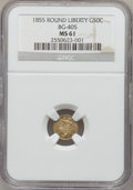 California Fractional Gold: , 1855 50C Liberty Round 50 Cents, BG-405, R.5, MS61 NGC. NGC Census:(1/3). PCGS Population (1/12). (#10441)...