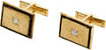 Estate Jewelry:Cufflinks, Diamond, Garnet, Gold Cuff Links, Lucien Piccard. ...