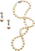 Estate Jewelry:Suites, Diamond, Cultured Pearl, White Gold Jewelry Suite. ...