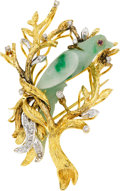 Estate Jewelry:Brooches - Pins, Jadeite Jade, Diamond, Ruby, Gold Brooch. ...