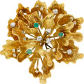 Estate Jewelry:Brooches - Pins, Diamond, Emerald, Gold Brooch. ...
