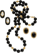 Estate Jewelry:Suites, Black Onyx, Mother-of-Pearl, Diamond, Sterling Silver, Gold JewelrySuite. ...