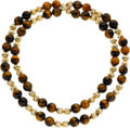 Estate Jewelry:Necklaces, Tiger's-Eye Quartz, Gold Necklace. ...