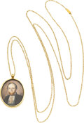 Estate Jewelry:Pendants and Lockets, Victorian Painted Portrait, Woven Hair, Gold Locket-Pendant-Necklace, Swedish. ...