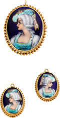 Estate Jewelry:Suites, Hand Painted, Gold Jewelry Suite. ...