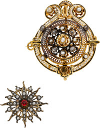 Antique Seed Pearl, Ruby, Diamond, Enamel, Sterling Silver, Gold Pendant-Brooches