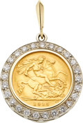 Estate Jewelry:Pendants and Lockets, English Gold Coin, Diamond, Gold Pendant. ...