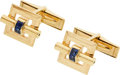 Estate Jewelry:Cufflinks, Retro Sapphire, Gold Cuff Links. ...