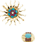 Estate Jewelry:Suites, Turquoise, Ruby, Diamond, Gold Jewelry Suite. ...