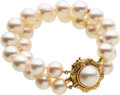 Estate Jewelry:Bracelets, Cultured Pearl, Mabe Pearl, Gold Bracelet. ...