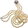 Estate Jewelry:Pearls, Cultured Pearl, Ruby, Diamond, White Gold Necklace. ...