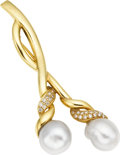 Estate Jewelry:Brooches - Pins, South Sea Cultured Pearl, Diamond, Gold Brooch, Tiffany & Co.....