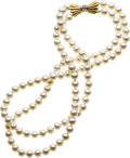 Estate Jewelry:Pearls, Cultured Pearl, Diamond, Gold Necklace. ...