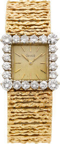 Estate Jewelry:Watches, Swiss Gent's Diamond, Gold Wristwatch, circa 1970. ...