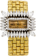 Estate Jewelry:Watches, Swiss Lady's Diamond, Diamond, Gold Wristwatch. ...