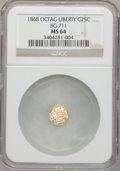 California Fractional Gold: , 1868 25C Liberty Octagonal 25 Cents, BG-711, R.4, MS64 NGC. NGCCensus: (2/9). PCGS Population (24/24). (#10538)...