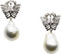 Estate Jewelry:Earrings, Baroque Cultured Pearl, Diamond, White Gold Earrings. ...