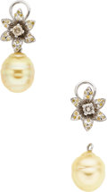 Estate Jewelry:Earrings, South Sea Cultured Pearl, Colored Diamond, Diamond, White GoldEarrings. ...