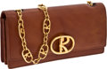 Luxury Accessories:Bags, Roberta di Camerino Beautiful, Natural Cognac Leather Flap Bag withGold R Closure and R-Link Strap. ...