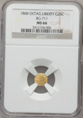 California Fractional Gold: , 1868 25C Liberty Octagonal 25 Cents, BG-711, R.4, MS66 NGC. NGCCensus: (7/1). PCGS Population (5/0). (#10538)...