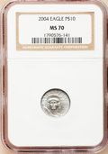 Modern Bullion Coins, 2004 P$10 Tenth-Ounce Platinum Eagle MS70 NGC. NGC Census: (1169).PCGS Population (71). Numismedia Wsl. Price for problem...