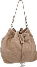 Luxury Accessories:Bags, Chanel Beige Diamond-Stitch Drawstring Market Bag with CC Charm....