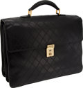 Luxury Accessories:Bags, Chanel Black Lambskin Leather Diamond-Stitch Vintage Briefcase. ...