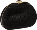 Luxury Accessories:Bags, Judith Leiber Black Full Bead with Crystal & Large Black BeadClasp Minaudiere Evening Bag. ...