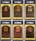Autographs:Post Cards, 1970's-2000's Gold Hall of Fame Plaques Signed Lot of 28....