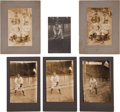 Baseball Collectibles:Photos, 1909 Pittsburgh Pirates Cabinet Photographs Lot of 5 Plus OnePostcard....