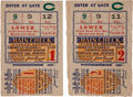 Baseball Collectibles:Tickets, 1928 World Series Games One & Two Ticket Stubs (2)....