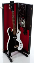 Musical Instruments:Electric Guitars, 1960's Silvertone 1448 Amp-in-Case Black Semi-Hollow Body ElectricGuitar...