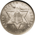 Three Cent Silver: , 1863 3CS MS66 Prooflike NGC. A mere 21,000 business strikes wereproduced of this Civil War era issue, with many believed t...