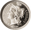 Proof Three Cent Nickels: , 1877 3CN PR67 Cameo NGC. Breen 2437. Walter Breen (1988) calls thisan 1877/6 overdate. Kevin Flynn and Edward Fletcher (1...