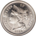 Proof Three Cent Nickels: , 1882 3CN PR68 Cameo NGC. One of the half-dozen finest at bothservices combined of this issue with the Cameo designation. T...
