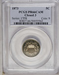 Proof Shield Nickels: , 1873 5C Closed 3 PR66 Cameo PCGS. Sharply impressed with profoundlyreflective fields and deep olive-golden toning. There a...