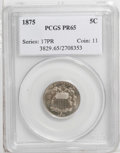 Proof Shield Nickels: , 1875 5C PR65 PCGS. A boldly defined Gem, one of 700 proofs.Moderately reflective with bands of champagne and aqua toning, ...