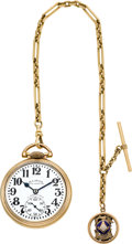 Timepieces:Pocket (post 1900), Illinois 23 Jewel Grade 163 Sixty Hour Bunn Special, With Chain & Fob. ...