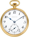 Timepieces:Pocket (post 1900), Tiffany 18k Gold Pocket Watch By Longines, circa 1910. ...