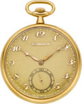 Timepieces:Pocket (post 1900), Tiffany & Co. 18k Gold Pocket Watch By Longines. ...