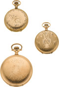 Timepieces:Pocket (post 1900), Three American Hunters Case Watches. ...