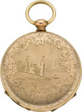 Timepieces:Other , Gilt Pocket Watch Type Photo Locket. ...