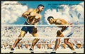 Boxing Collectibles:Autographs, Joe Louis and Jack Dempsey Multi Signed Postcard....