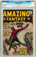 Silver Age (1956-1969):Superhero, Amazing Fantasy #15 (Marvel, 1962) CGC GD+ 2.5 Cream to off-whitepages....