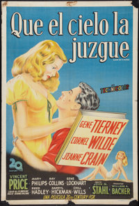 """Leave Her to Heaven (20th Century Fox, late1940s). Argentinean Poster (29"""" X 43""""). Film Noir"""