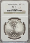 Modern Issues: , 2002-P $1 Olympics Silver Dollar MS69 NGC. NGC Census: (692/643).PCGS Population (1859/268). Numismedia Wsl. Price for pr...