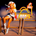 Post-War & Contemporary:Contemporary, RON ENGLISH (American, b. 1959). Cowgirl McDonalds, 2005.Oil on canvas. 36 x 36 inches (91.4 x 91.4 cm). Signed lower r...