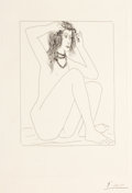Prints:European Modern, PABLO PICASSO (Spanish, 1881-1973). Femme nue se couronnant defleurs, pl. 2 (from Suite Vollard), 1930. Etching. 12-1/4...